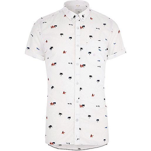 White desert slim fit short sleeve shirt