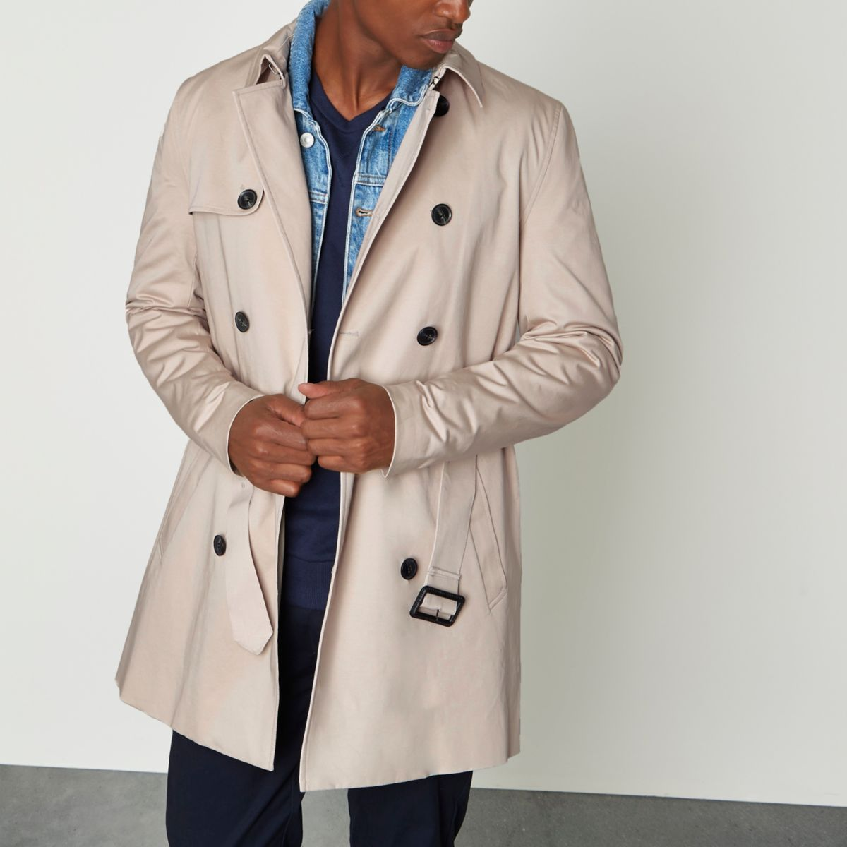 Stone double breasted belted trench coat