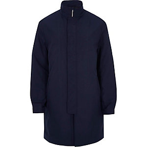 Navy smart zip up mac