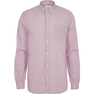 Red stripe slim fit long sleeve shirt