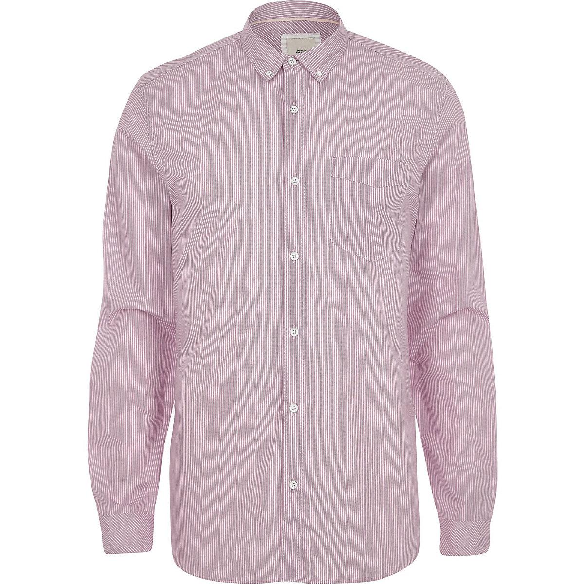 Red stripe slim fit long sleeve shirt