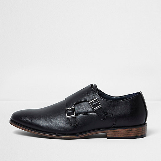 Black double monk strap shoes