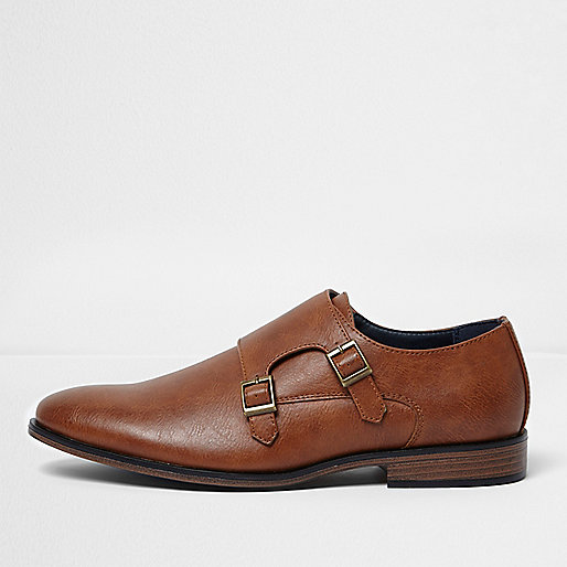Tan double monk strap shoes