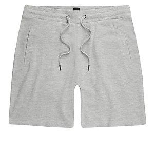 Grey marl pique shorts
