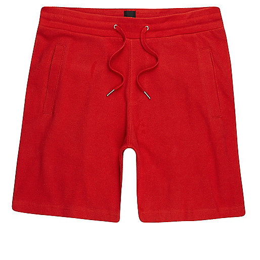 Red pique shorts