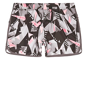 Pink shard print runner swim trunks