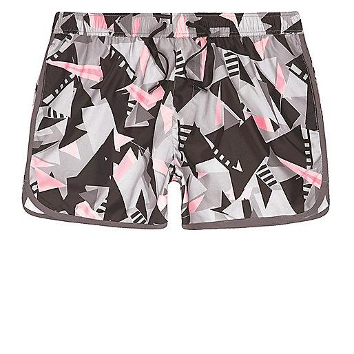 Pink shard print runner swim trunks