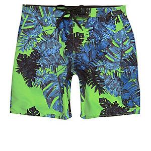 Green palm print swim shorts