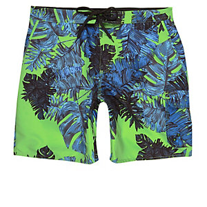 Green palm print swim trunks