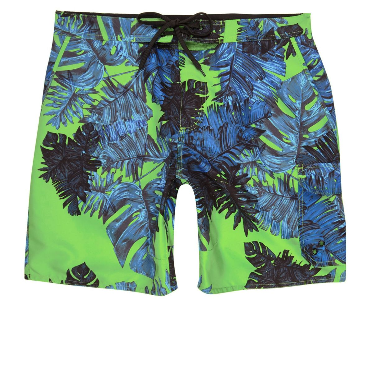 Green palm print swim shorts