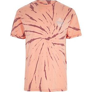 T-shirt imprimé «undisclosed» effet tie-dye orange