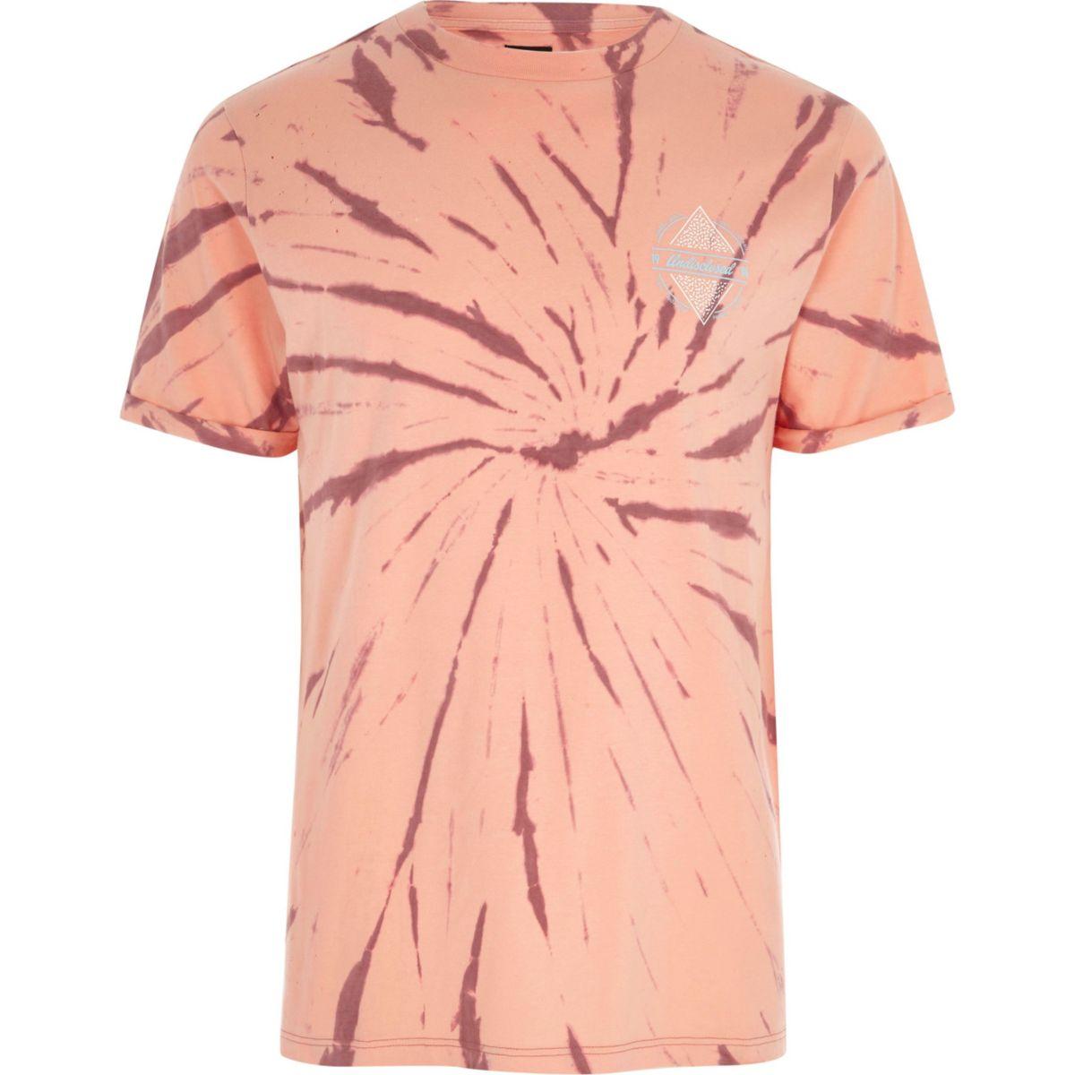 Orange tie dye 'undisclosed' print T-shirt