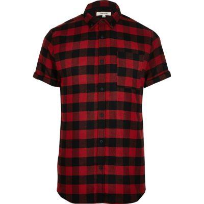 Rood geruit overhemd met korte mouwen