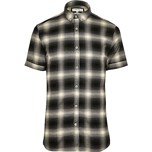 Black check short sleeve muscle fit shirt
