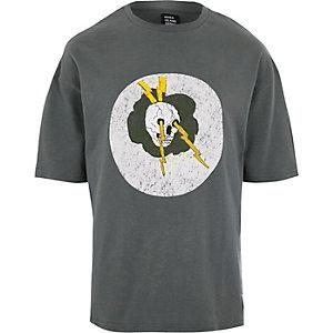 Design Forum – T-shirt imprimé tête de mort marron foncé