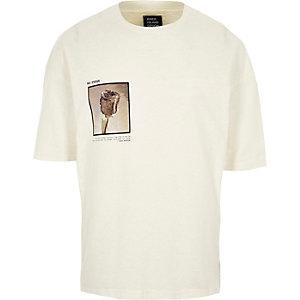 Cream Design Forum rose photo print T-shirt