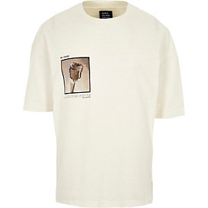 Cream Design Forum rose photo print T-shirt