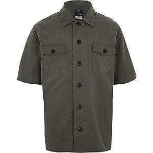Design Forum - Donkergroen overhemd met korte mouwen