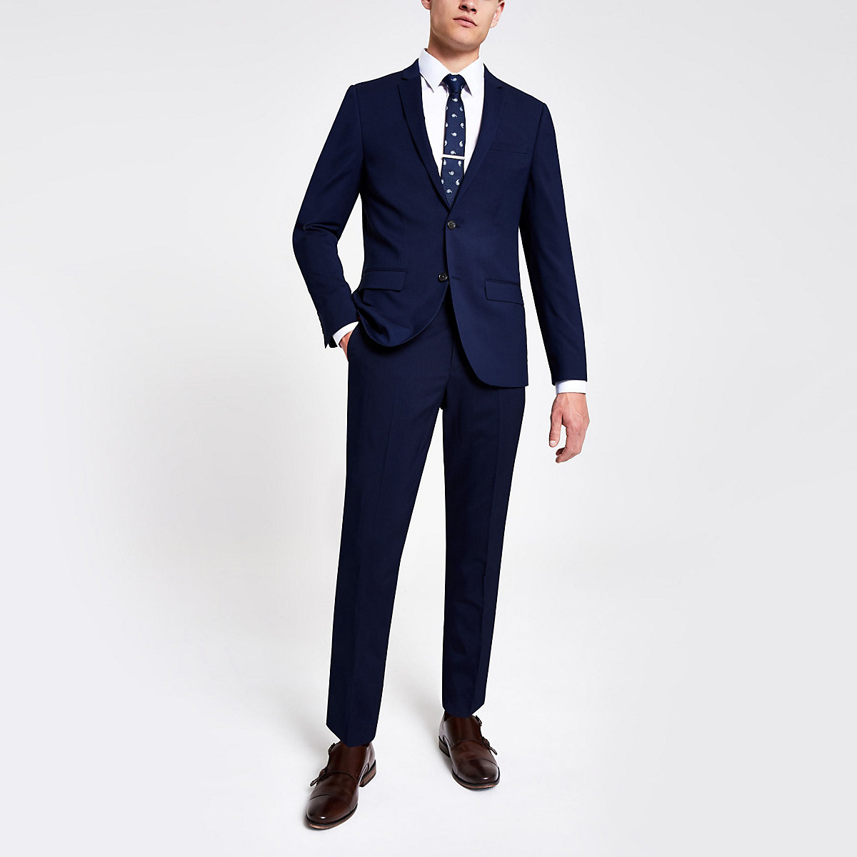 Navy skinny suit pants