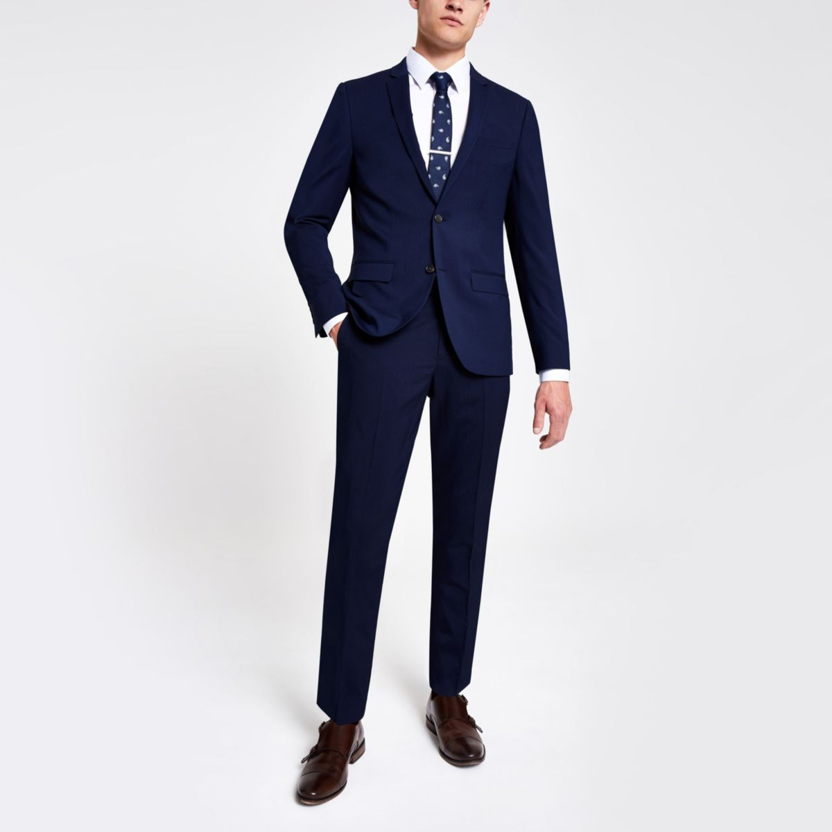 Navy skinny suit pants