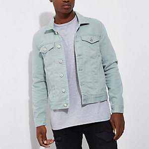 Green denim jacket