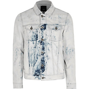 Light blue acid wash denim jacket