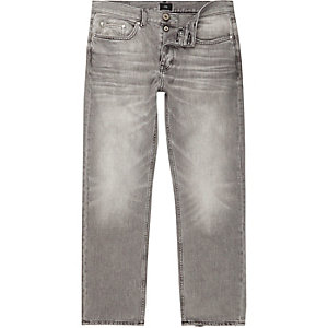 Grey wash fade loose fit jeans
