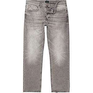 Grijze wash ruimvallende jeans met vervagend effect