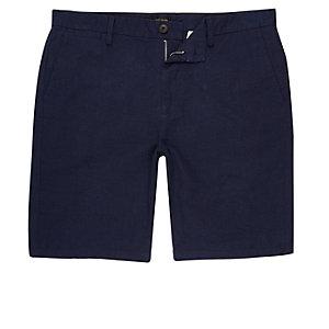 Blauwe slim-fit chino short