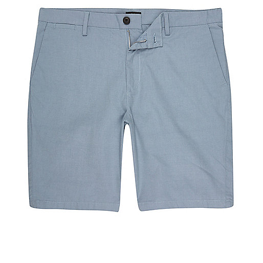 Light blue slim fit shorts