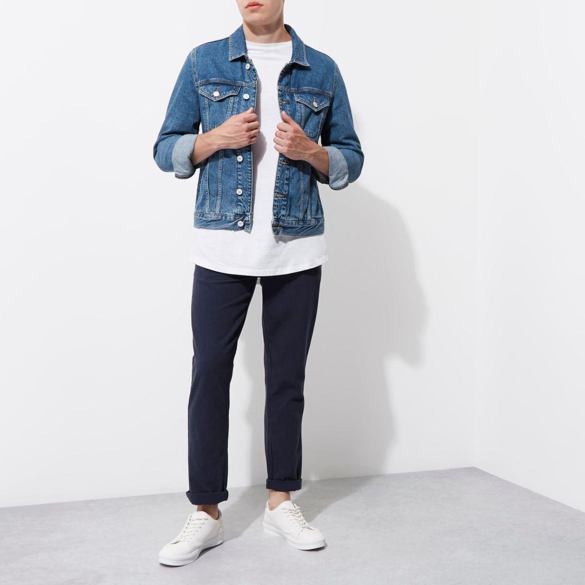 Blaue, strukturierte Slim Fit Chinos