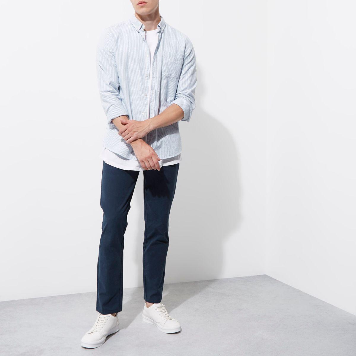 Pantalon chino slim bleu