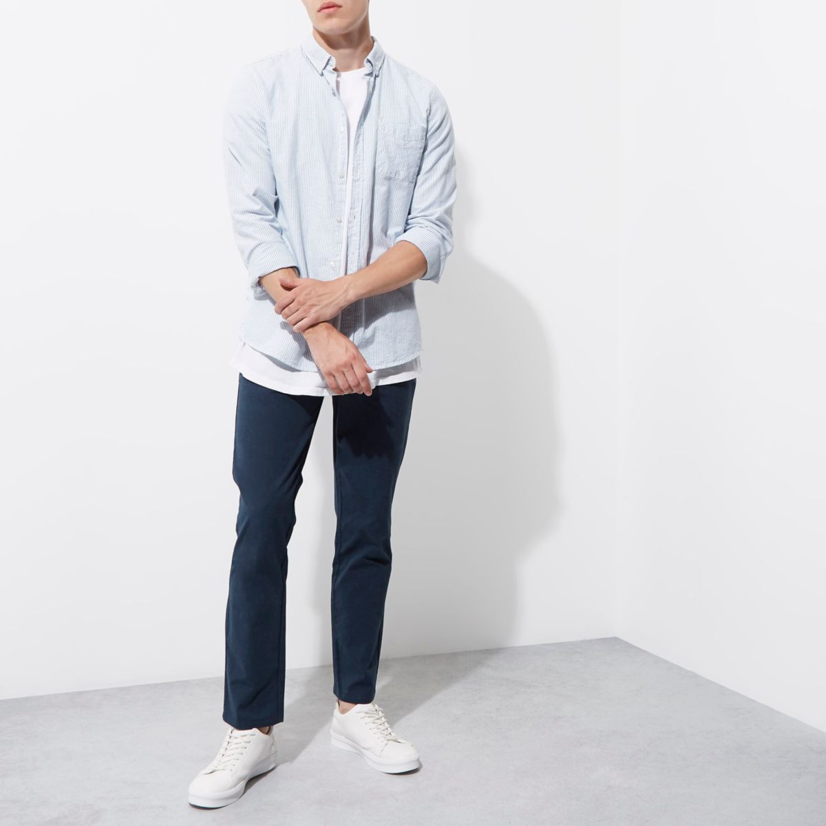 Blauwe slim-fit chino