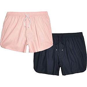 Lot de shorts de bain, bleu marine et rose