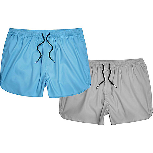 Grey and blue swim trunks pack