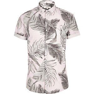 Lichtoranje overhemd met korte mouwen en tropische print