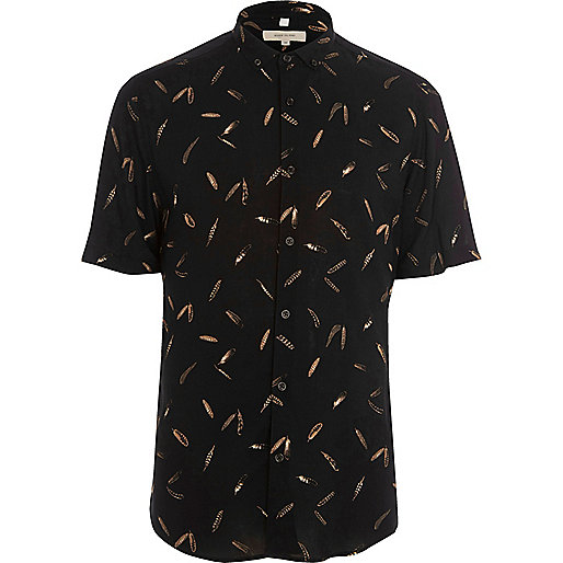 Black feather short sleeve slim fit shirt