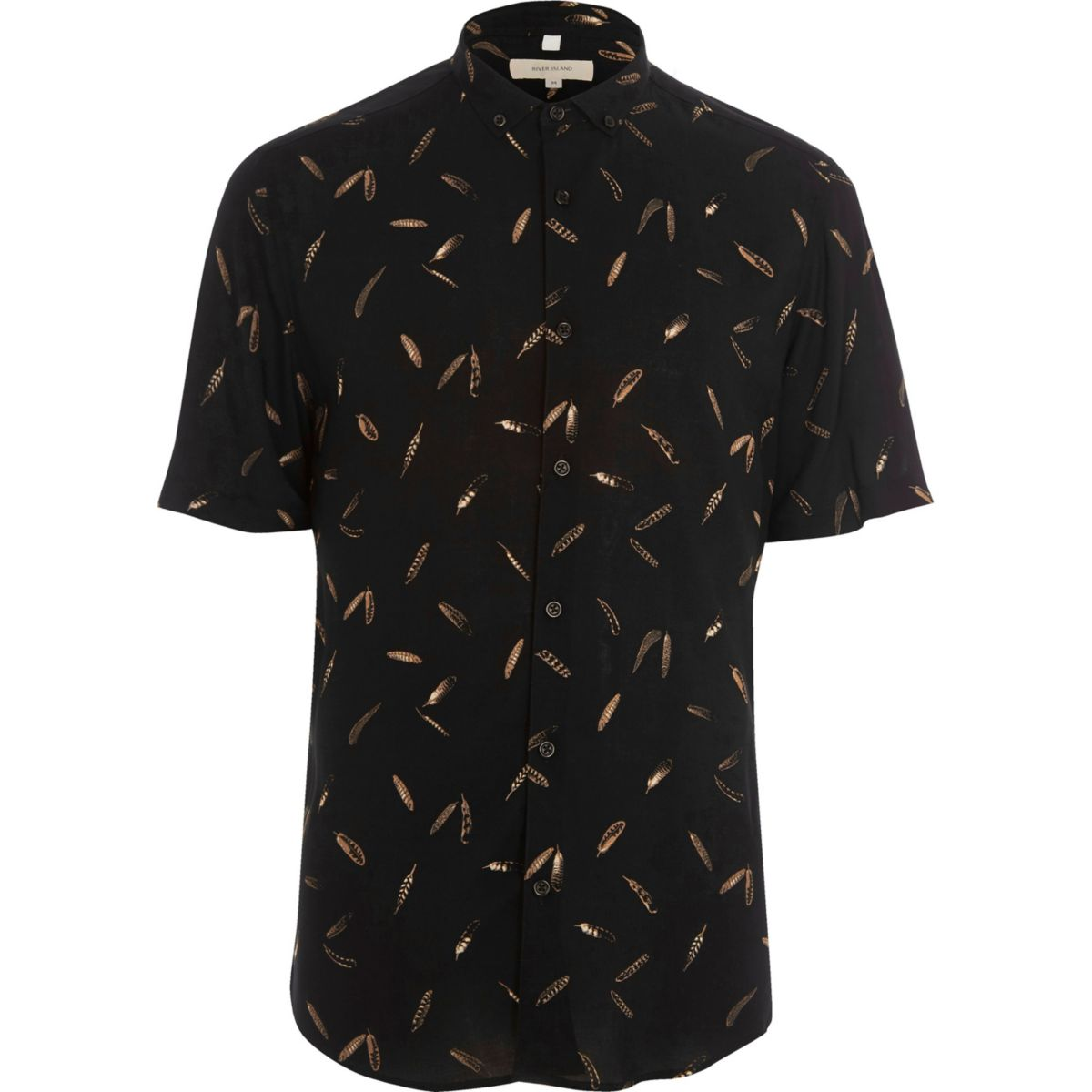 Zwart slim-fit overhemd met korte mouwen en veren