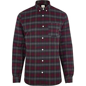 Berry red casual check shirt