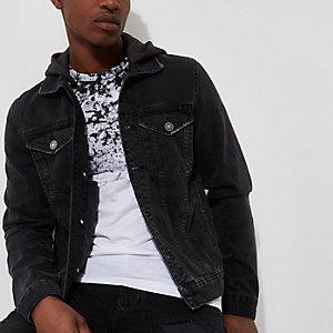 Veste en jean délavé noir à capuche