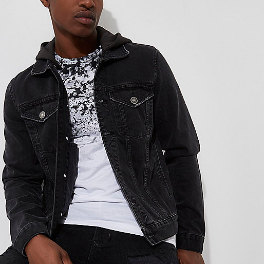 Black washed denim hooded jacket