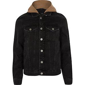 Veste en jean délavé noir à capuche marron clair