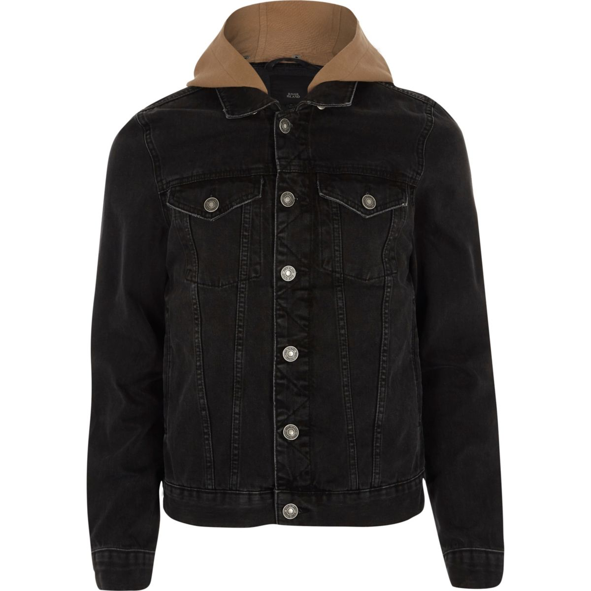 Black washed denim camel hooded jacket