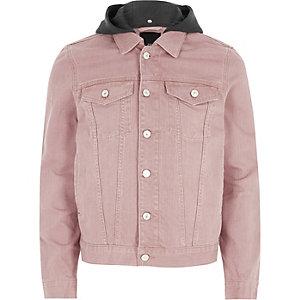 Veste en jean rose délavée à capuche