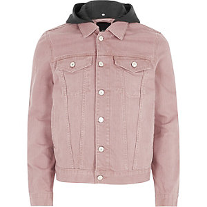 Washed roze denim jack met capuchon