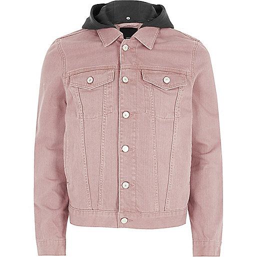 Washed pink hooded denim jacket