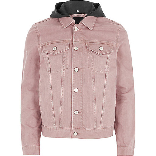 jeansjacke mit kapuze in pink m ntel jacken sale. Black Bedroom Furniture Sets. Home Design Ideas