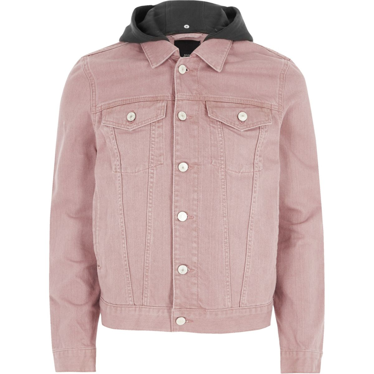 Washed pink hooded denim jacket