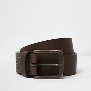 Dark brown square buckle jeans belt