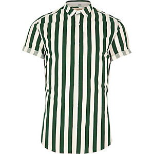 Dark green stripe short sleeve slim fit shirt